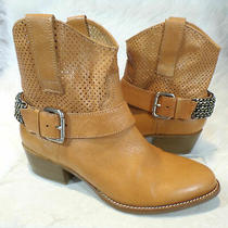 Bcbg Generation Fifi Tan Leather Western Ankle Boots With Chain Detail Sz. 8.5  Photo