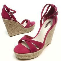 Bcbg Generation Holly Espadrille Wedge Sandals Pink 10m Eu40 Platform Nwob Photo