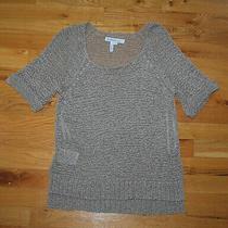 Bcbg Generation Lightweight Tan Scoop-Neck Knit Sweater Top (S) Crochet Look Photo