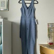 Bcbg Generation New Blue Womens Size 0 v-Neck Solid Jumpsuit Originally 108 Photo