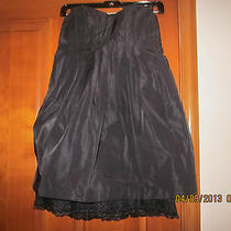 Bcbg Generation Strapless Pleated Black Taffeta Dress Lined Sz 2 Photo