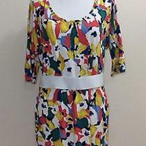 Bcbg Generation Stretchy Modal Abstract Painted Flowers Mini Dress Medium 8 10 Photo