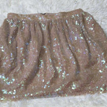 Bcbg Generation Sz 4 Sequin Skirt Tan Photo