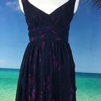 Bcbg Generation Women's Dress Size 2 Xs Sleeveless Blue Purple Lined v Neck 2041 Photo