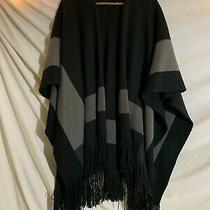 Bcbg Generation Wrap Shawl Cape Poncho in Black Grey Block Pattern One Size Photo