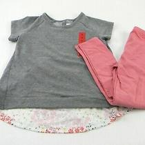 Bcbg Girl's 2-Pc Set T-Shirt/legging Pants Pink/gray Size 6 Photo