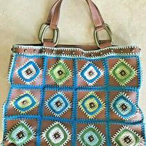 Bcbg Girls Crochet Patchwork Boho Tote Handbag Purse Brown Blue Green Pockets Photo