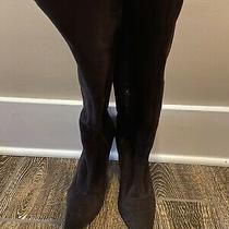 Bcbg Girls Dark Brown Suede Knee High Heel Stiletto Lace Up Fashion Boots Sz 7.5 Photo