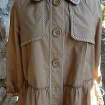 Bcbg Girls Peplum Jacket Bolero Beige Stitching Button Up Ruffle Size Medium Photo