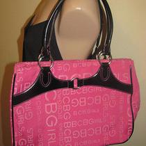 Bcbg Girls Pink Black Logo Canvas Tote Shoulder Bag Handbag Purse Photo