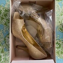 Bcbg Gold Glitter Ariel Peep-Toe Heel. 7.5m Photo