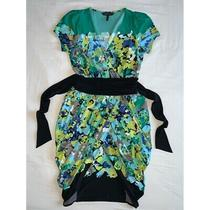 Bcbg Green Floral Dress Pleated Skirt Small Photo