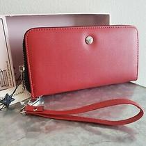 Bcbg Kalina Wallet Red Zip Around Wristlet Wallet Black Interior Boxed Photo