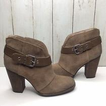 Bcbg Kerinax Booties 38.5 / 8.5m Taupe Suede Buckle Leather Strap 4