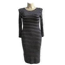 Bcbg Large Bodycon Dress Navy Blue Beige Stripe Stretchy Rib 3/4 Sl Midi Briza Photo