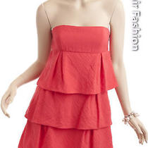 Bcbg Linen Tiered Poppy Orange Red Dress New Size 8 Photo