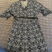 Bcbg Max Azaria Black/white Print 3/4 Sleeve Wrap Belt Sz L Pockets Photo