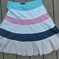 Bcbg Max Azaria Pink Turquoise Black Cream Striped Skirt 4 Below the Knee Lined  Photo