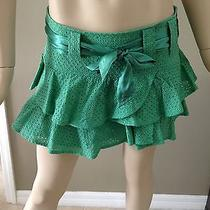 Bcbg Max Azria 100% Cotton Hook & Eye Flared Green Ruffed Mini Skirt Size 4 Photo