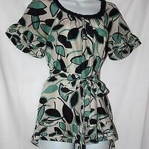 Bcbg Max Azria 100% Silk Green Leaf Print Shirt Top Bouse Size Xxs Photo