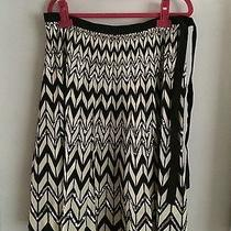 Bcbg Max Azria Black Cream and Sequin Chevron Side Tie Flounce Skirt Medium Photo