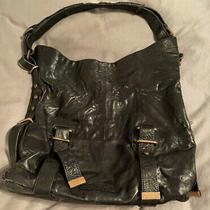 Bcbg Max Azria Black Glazed Leather Tote Purse  Bag-Near Mint Photo