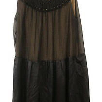 Bcbg Max Azria Black & Gold Silk Mini Cocktail Dress Size 12 Photo