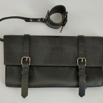 Bcbg Max Azria Black Leather Clutch Purse With Detachable Wristlet Bracelet Photo