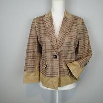 Bcbg Max Azria Blazer Sz M Linen Cotton Bl  Jacket Plaid U Photo