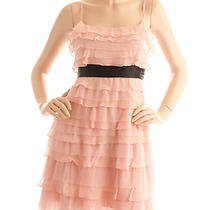 Bcbg Max Azria Blush Pink Silk Tulle Tiered Ruffle Spaghetti Strap Dress Size 4 Photo