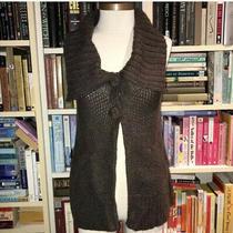 Bcbg Max Azria Brown Sweater Vest Fold Over Collar - Small Photo