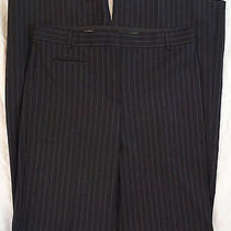 Bcbg Max Azria Camilla High Waisted Straight Flare Navy Striped Pants Size 6 Nwt Photo