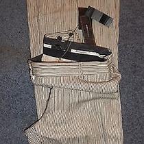Bcbg Max Azria Camilla the High W Striped Cotton Linen Pants Womens Size 12 New Photo