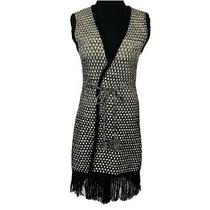 Bcbg Max Azria Cardigan Sweater Duster Vest Size Large Knit Fringe Hem -Flaw Photo