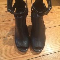 Bcbg Max Azria Croc Embossed Leather Wedge With Peep Holes 37 New Photo