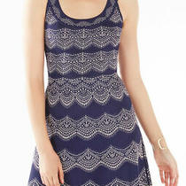 Bcbg Max Azria Cyndi Knit Jacquard Dress Navy Blue Sz Small Photo