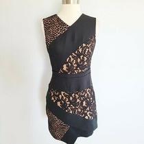 Bcbg Max Azria Dalia Mini Dress Women's Size 2 Xs Lace Wrap Black Tan Photo