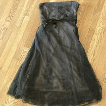 Bcbg Max Azria Dress Size M Evening Black Lace Floral Strapless Full Skirt Lbd Photo
