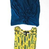 Bcbg Max Azria Ella Moss Womens Dress Sweater Blue Yellow Size Small Large Lot 2 Photo