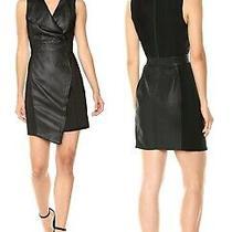 Bcbg Max Azria Faux Leather Sheath Black Combo Mini Skirt Dress  Size 2 (32) Photo