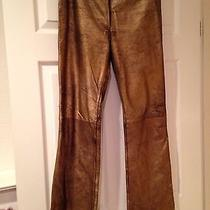 Bcbg Max Azria Genuine Gold Distressed Leather Pants Front Zipper Size 10 Photo