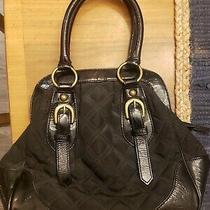 Bcbg Max Azria Genuine Leather and Clotb Black Bag Handbag Purse Tote Bag Photo