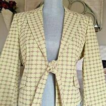 Bcbg Max Azria Green Pink Embroidered Tie Front Cotton Blazer Jacket Size M Photo