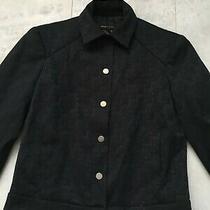 Bcbg Max Azria Monogram Black Cropped Jacket Trucker Women's Size 0 Photo