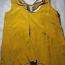 Bcbg Max Azria - Mustard Scoop Neckline Gold Necklace Sleeveless Xxs Photo