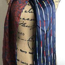 Bcbg Max Azria Navy Blue Maroon Silk Scarf Long Asymmetrical Hem New Photo