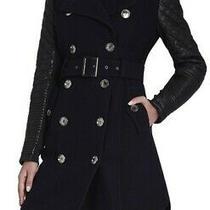 Bcbg Max Azria Navy Isabella Leather Sleeve Wool Trench Coat Sz Xs Small Women Photo