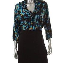 Bcbg Max Azria New Black Printed Matte Jersey Wear to Work Dress 6 Photo