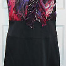 Bcbg Max Azria New Sunset Dress 4 Azalea Silk Ruffle Pleat Scarf Top Black Satin Photo