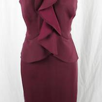 Bcbg Max Azria Nwt Wine Purple Ruffle Front Peplum Knee Length Halter Dress 10 Photo